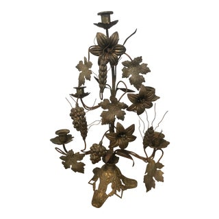 French Church Candelabra with Flowers and Wheat For Sale