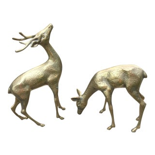 Solid Brass Textured Deer - A Pair