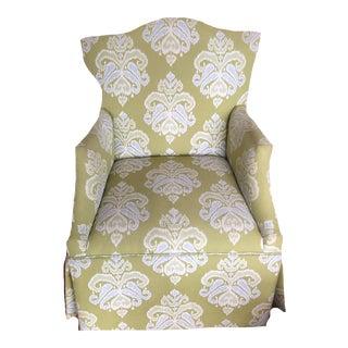 Swivel Custom Upholstered Skirted High Back Chair For Sale