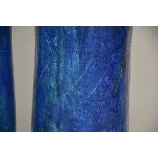Blue Mid-Century Ceramic Drip Glaze Lamps - A Pair For Sale - Image 8 of 11