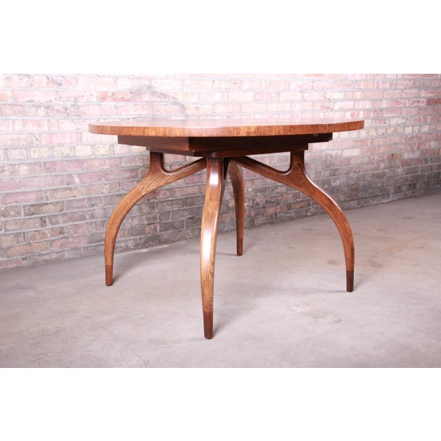 Harold Schwartz for Romweber Mid-Century Modern Spider Leg Extension Dining Table, Newly Restored For Sale - Image 10 of 13