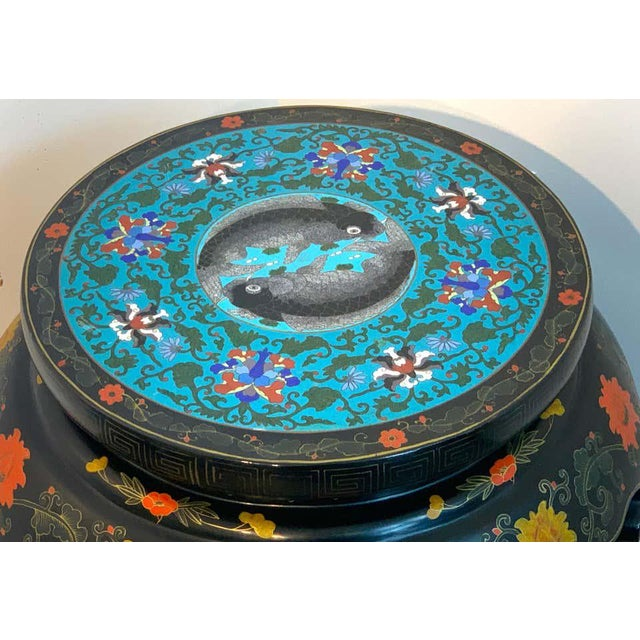Black Chinese Export Black Lacquer and Cloisonné Koi Motif Table For Sale - Image 8 of 13