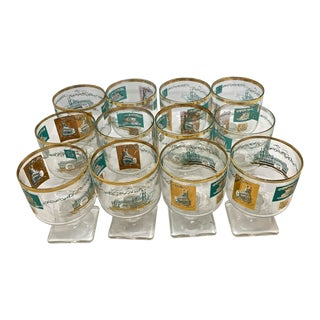 1950s Mid-Century Culver Steamboat Cocktail Glasses - Set of 12 For Sale