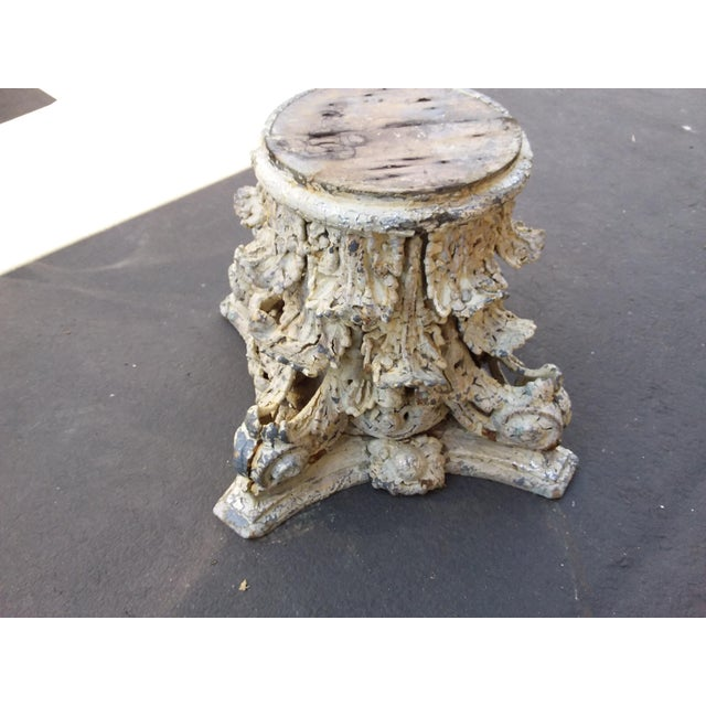 Antique Iron and Wood Corinthium Column Base For Sale - Image 11 of 11