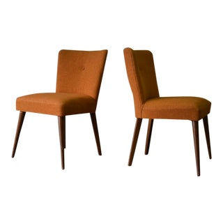 Mid Century Modern Burnt Orange Chairs, a Pair For Sale