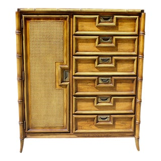 Vintage Faux Bamboo Cane Chinoiserie Hollywood Regency Wardrobe Armoire For Sale