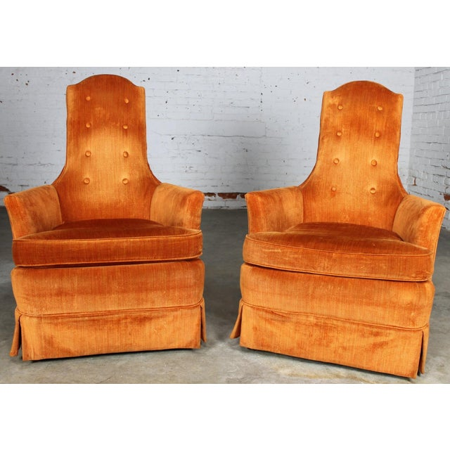 Hollywood Regency Orange Velvet High Back Chair A Pair