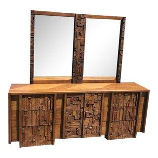 Lane Pueblo Paul Evan Style Brutalist Triple Dresser With Mirror For Sale