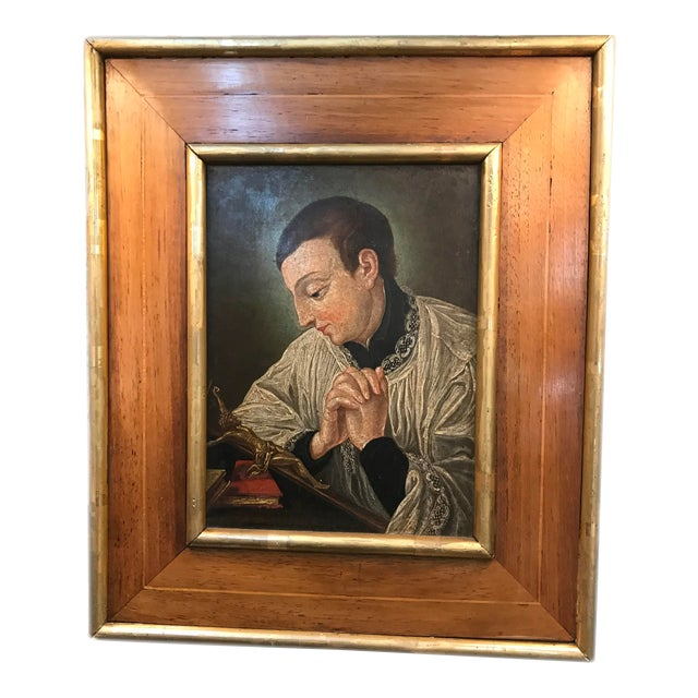 19th Century European Icon Painting on Copper, Framed For Sale