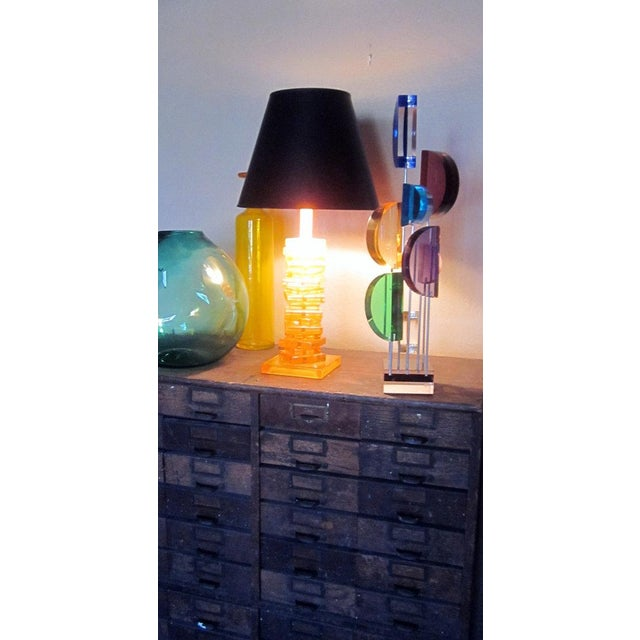 Lucite Modernist Orange Stacked Lucite Lamp For Sale - Image 7 of 10