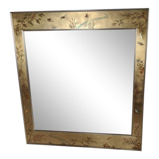 La Barge Chinoiserie Reverse Hand Painted Eglomise Mirror For Sale