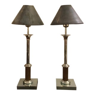 Classical Vintage Industrial Metal Bloomingdale's Table Lamps Pair For Sale