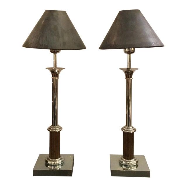 Classical Vintage Industrial Metal Bloomingdale's Table Lamps Pair For Sale