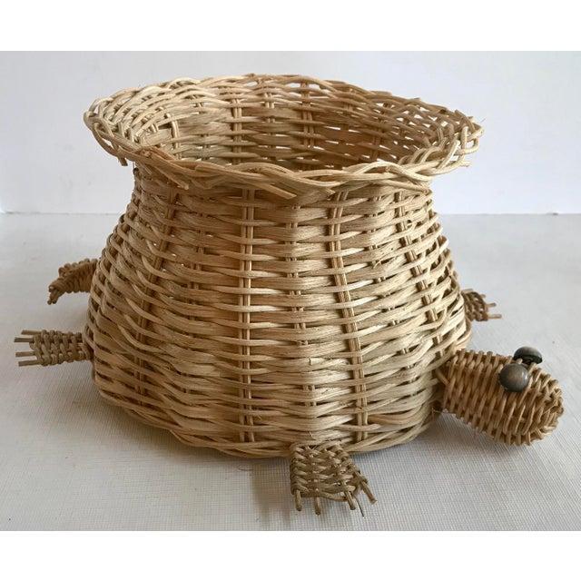 Brown Vintage Wicker Turtle Planter Basket For Sale - Image 8 of 8