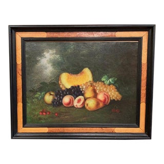 19th Century French Still Life Oil Painting on Canvas Signed and Dated 1878 For Sale
