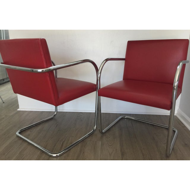 2000 - 2009 Knoll Brno Red Spinneybeck Leather Mid-Century Modern Chairs - a Pair For Sale - Image 5 of 8