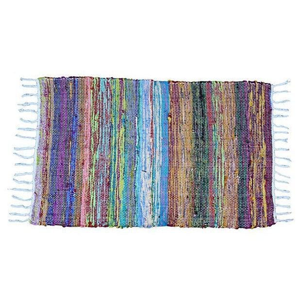 Striped Boucherouite Rug - 3' x 2' - Image 1 of 3