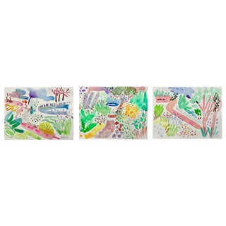 English Garden Set of Three Watercolors 11x15 Each For Sale