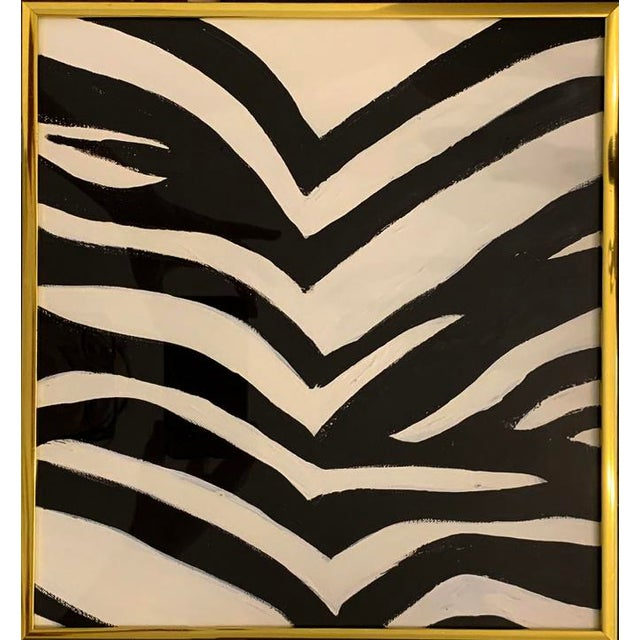Contemporary Zebra Pattern Acrylic Painting, Framed For Sale