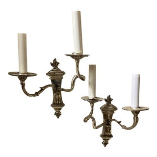 Caldwell Silver Plated Double Arm Sconces - a Pair For Sale