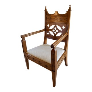 Vintage Biedermeier Fruitwood Armchair For Sale