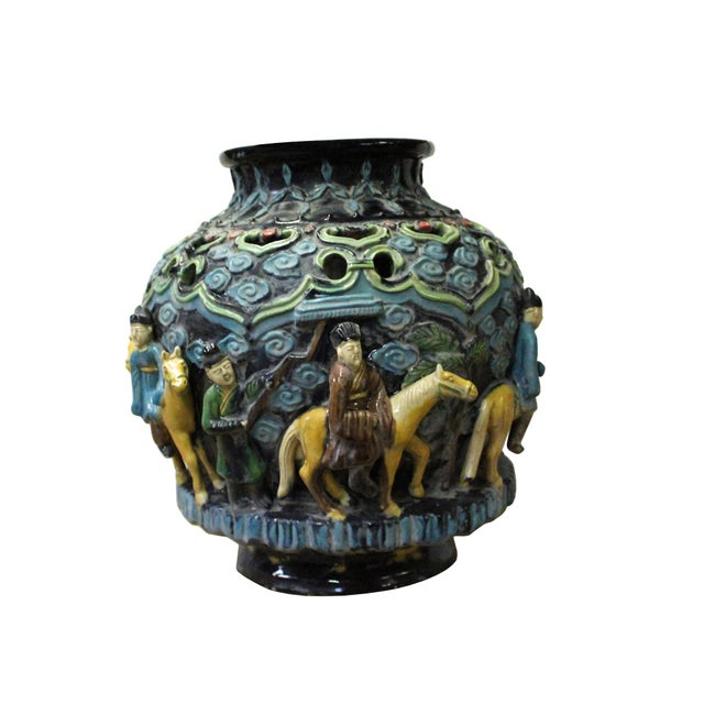 Handmade Ceramic Navy Blue Dimensional People Horse Vase Jar Chairish