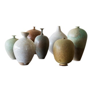 Set of Seven Miniature Vases by Ulla Selin Edin Sweden, 1986 For Sale
