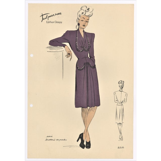 French Fashion Design Lithograph For Sale - Image 4 of 4