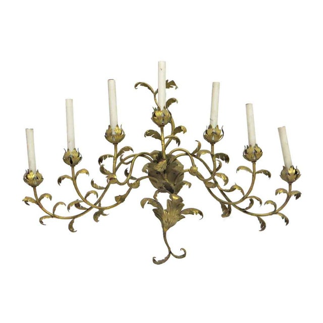 Late 20th Century Vintage 7 Arm Gold Painted Oversized Sconce For Sale - Image 5 of 5