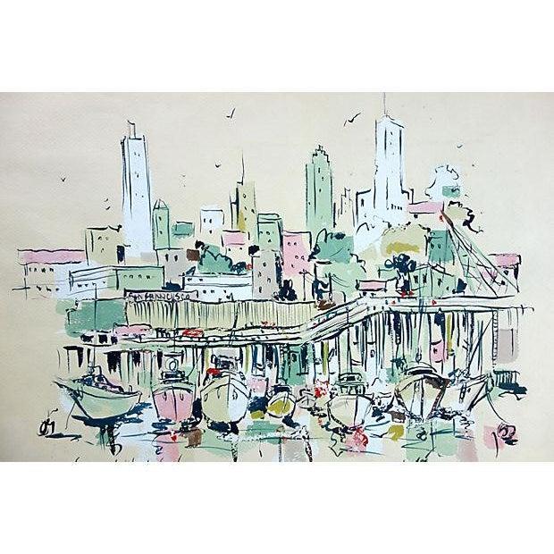 Watercolor of Fishermen's Wharf, San Francisco - Image 3 of 3