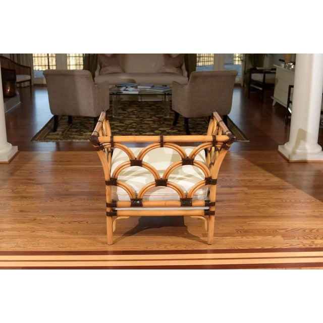 Wicker Amazing Pair of Scalloped Rattan Club Chairs by Peter Rocchia for Wicker Works For Sale - Image 7 of 11