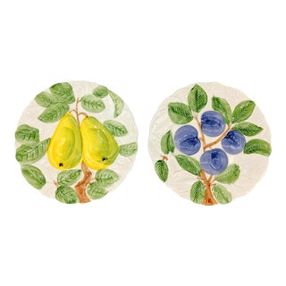 1980's Trompe l'Oeil Pear and Plum Fruit Plates - A Pair For Sale