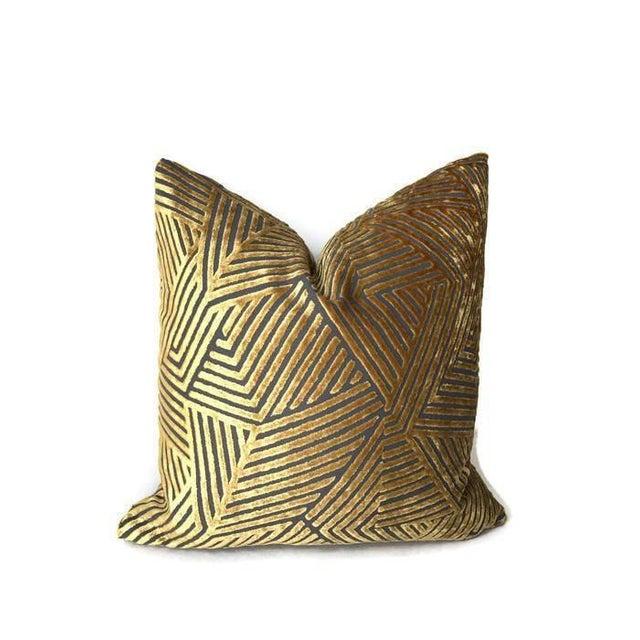 2020s Golden Maze Velvet Pillow Cover For Sale - Image 5 of 5