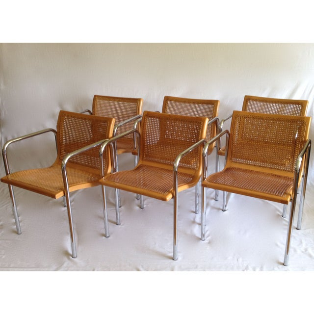 Chrome Dining Chairs with Caning - Set of 6 - Image 3 of 8
