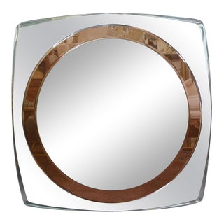 Italian Fontana Arte Style Square Beveled Mirror For Sale
