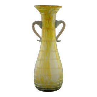 Italian Green and White Art Glass Amphora Style Vase For Sale