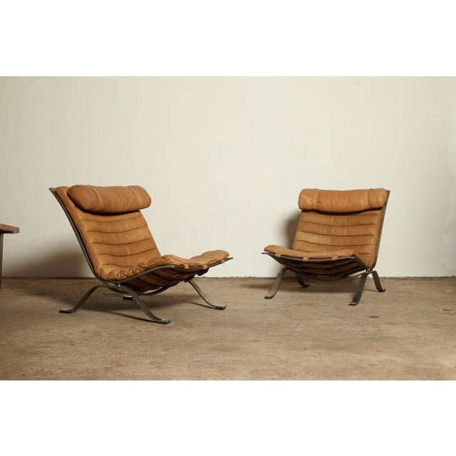 Pair of Arne Norell Tan Leather Ari Chairs, Norell Mobler, Sweden, 1970s For Sale - Image 11 of 11