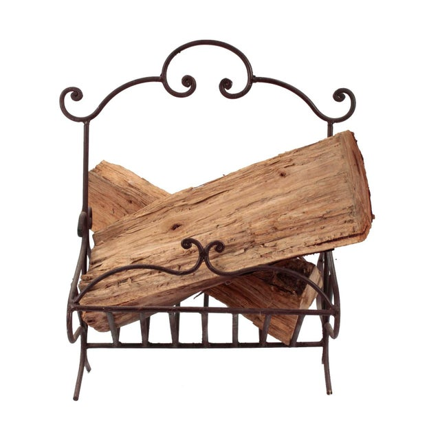 Antique French Wrought Iron Log Holder For Sale - Image 4 of 6