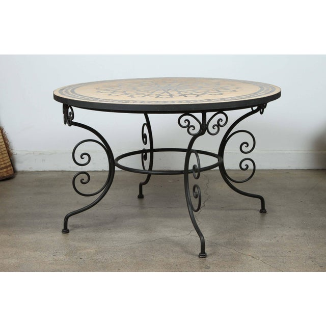 Black Moroccan Outdoor Round Mosaic Tile Dining Table on Iron Base 47 In. For Sale - Image 8 of 9