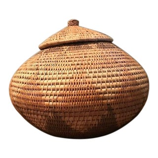 Zulu Tribe Medium Size Lidded Woven African Basket