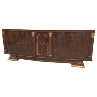 French Art Deco Walnut Five-Door Buffet For Sale