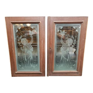 Circa 1890 American Art Nouveau Etched Glass Woman in Garden Motif Windows - a Pair For Sale