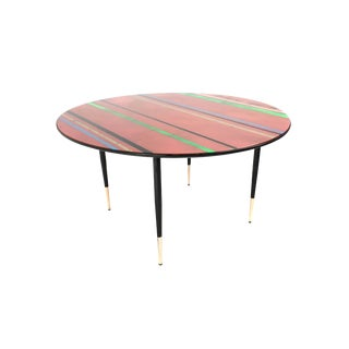 Italian Coffee Table with a Back-Painted Crystal Top, 1950s For Sale