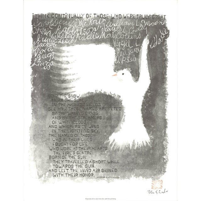 """Modern Ben Shahn I Think Continually 19.75"""" X 15.25"""" Offset Lithograph 1965 Modernism For Sale - Image 3 of 3"""