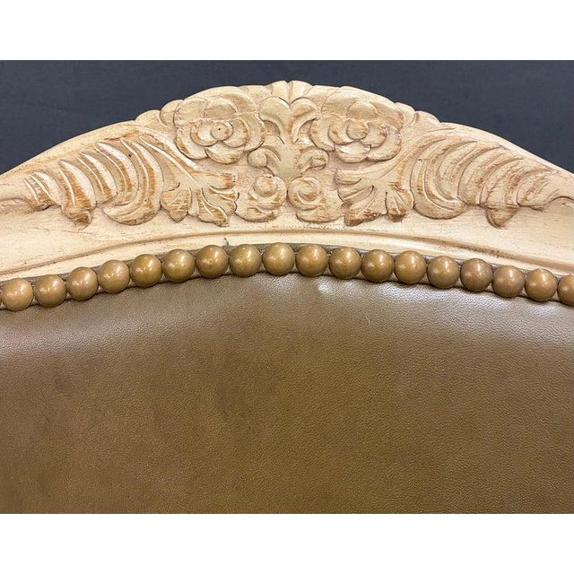 Tan Set of 14 Louis XV Style Pickled Distress Dining Chairs For Sale - Image 8 of 13