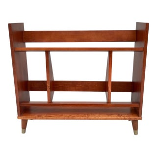1950s Mid-Century Modern Wood Bookcase With Tapered Legs For Sale