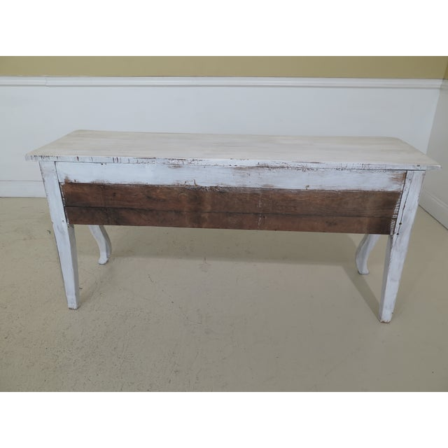 Shabby Chic Country White 3 Drawer Console Table Server For Sale - Image 9 of 10