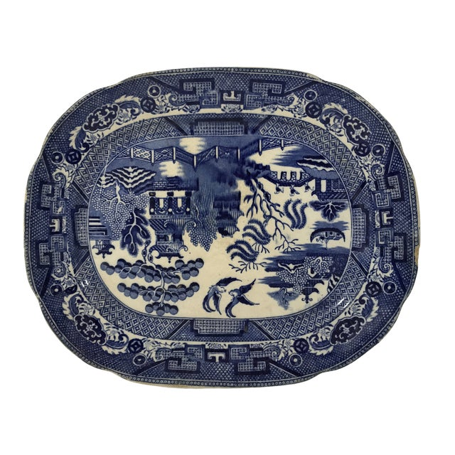 Antique Blue Willow Porcelain Platter For Sale