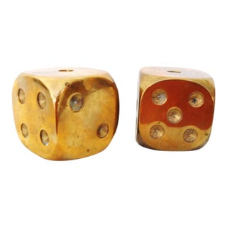 * Sale* Large Solid Brass Dices, Oversize - a Pair For Sale