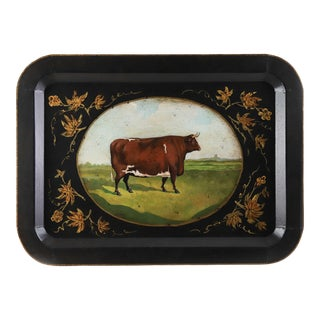 Vintage Farm Animal Tray Depicting Rural Cow For Sale